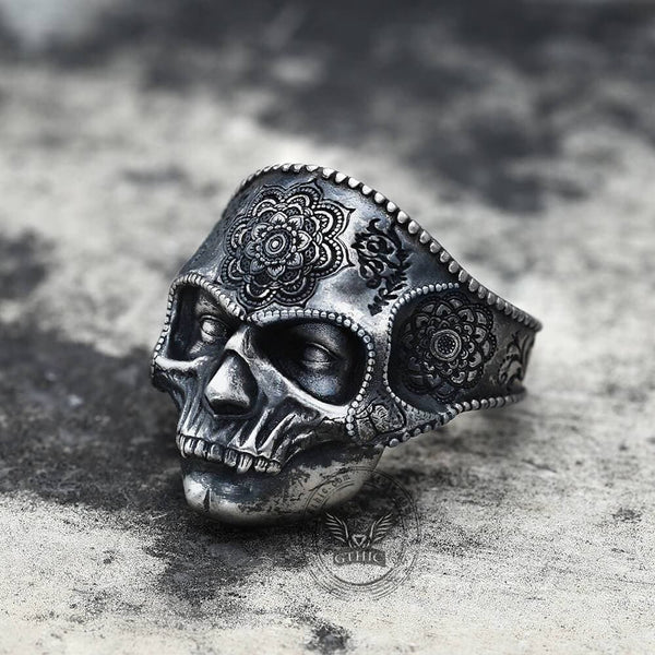 Mandala Flower Copper Sterling Silver Skull Ring