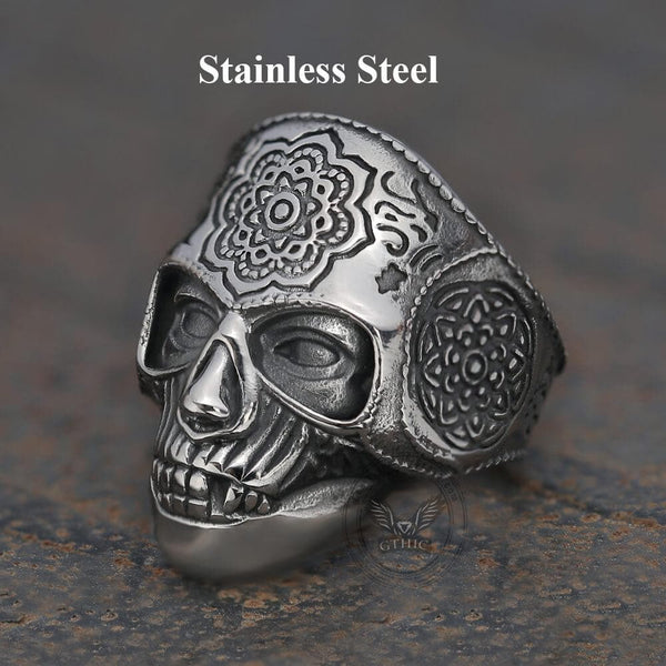 Mandala Flower Skull Ring