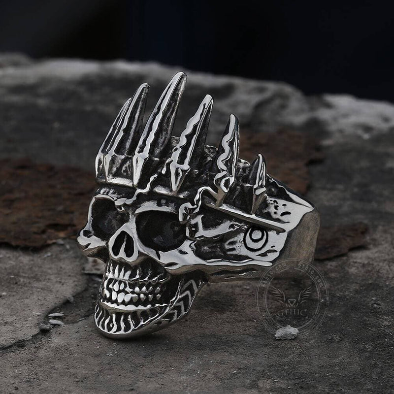Nobility King Crown Stainless Steel Skull Ring | Gthic.com