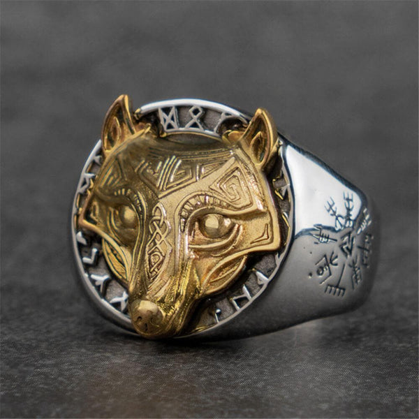 Nodic Fenrir Wolf Stainless Steel Viking Ring