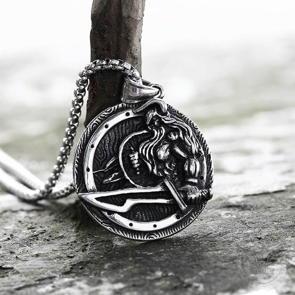 Norse Warrior Odin Stainless Steel Viking Pendant