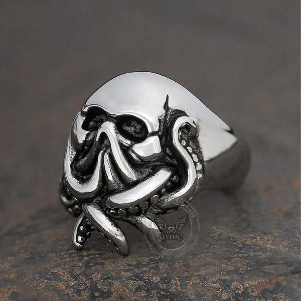 Octopus Seaman Stainless Steel Skull Ring