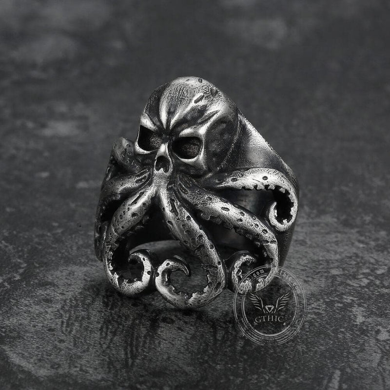 Octopus Skull Sterling Silver Animal Ring