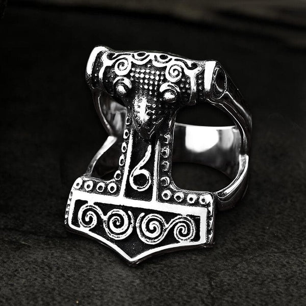 Odin Mjolnir Runes Stainless Steel Viking Ring