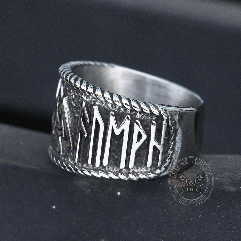 ODIN Runes Valknut 316L Stainless Steel Viking Ring