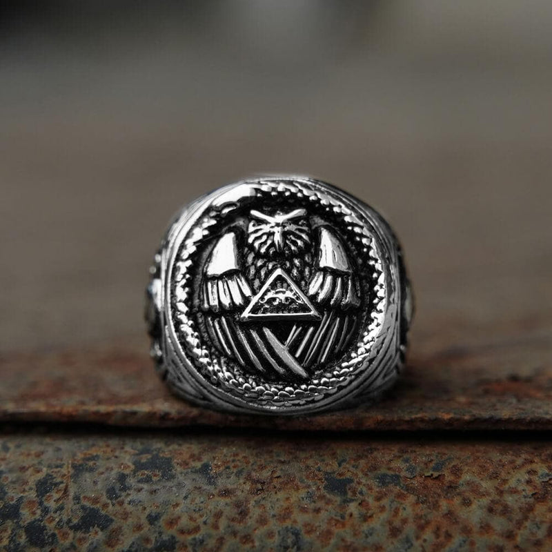 Ouroboros And Owl Stainless Steel Beast Ring | Gthic.com