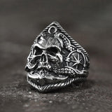 Pirate Anchor Stainless Steel Skull Ring | Gthic.com