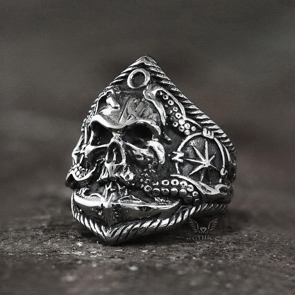 Pirate Anchor Stainless Steel Skull Ring
