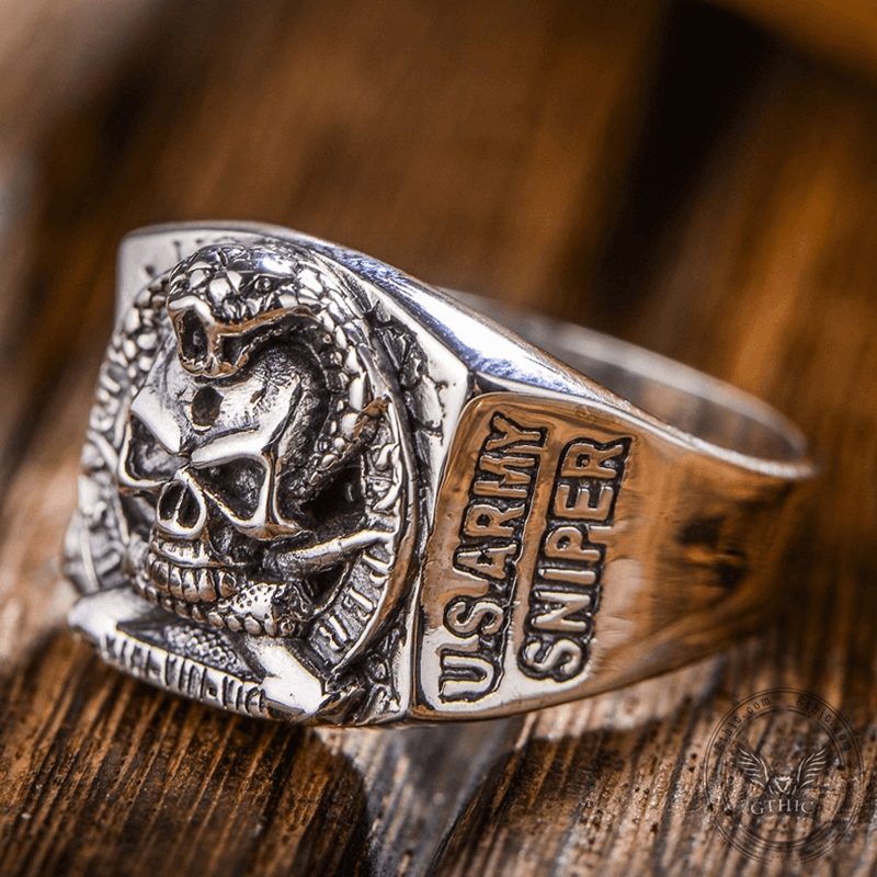 Pirate Coiled Snake Sterling Silver Skull Ring