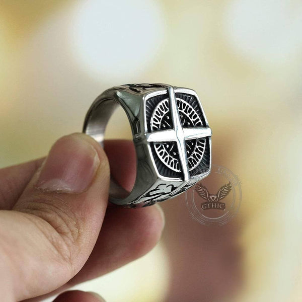 Pirate Compass Cross Stainless Steel Ring | Gthic.com