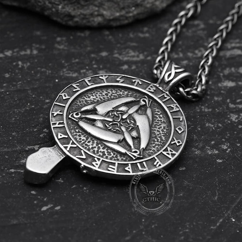 Raven And Triskele Stainless Steel Viking Pendant