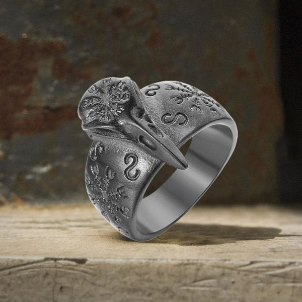 Raven Beak Helm of Awe Stainless Steel Viking Ring