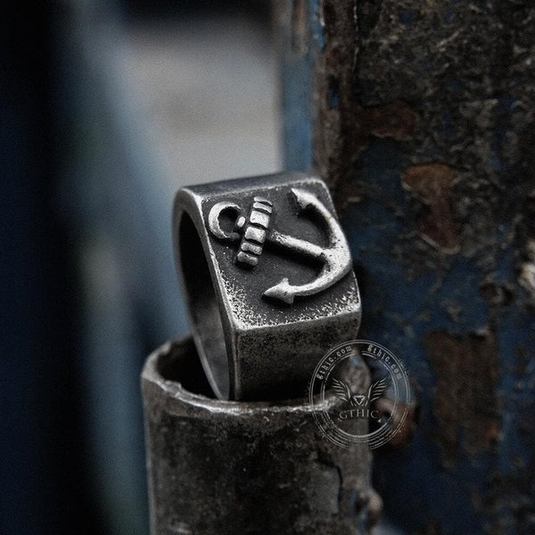 Retro Anchor Stainless Steel Marine Ring