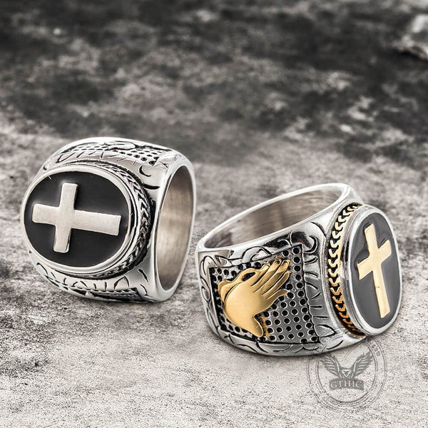 Retro Cross Stainless Steel Religious Ring