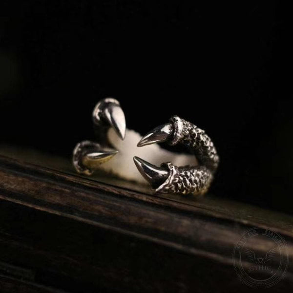 Retro Dragon Claw Sterling Silver Brass Ring