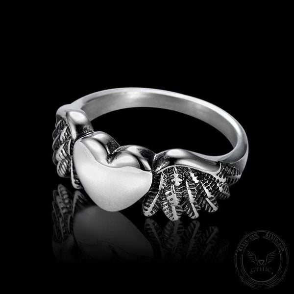 Retro Flying Love Stainless Steel Punk Ring