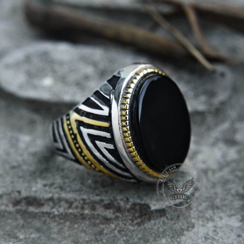 Retro Oval Gem Stainless Steel Ring