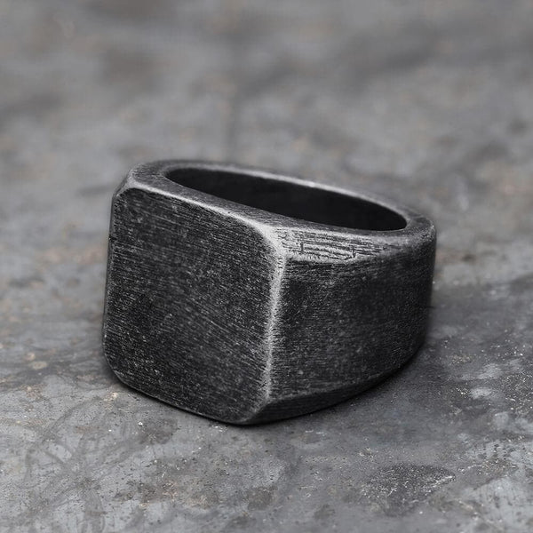 Retro Simple Plain Stainless Steel Square Ring