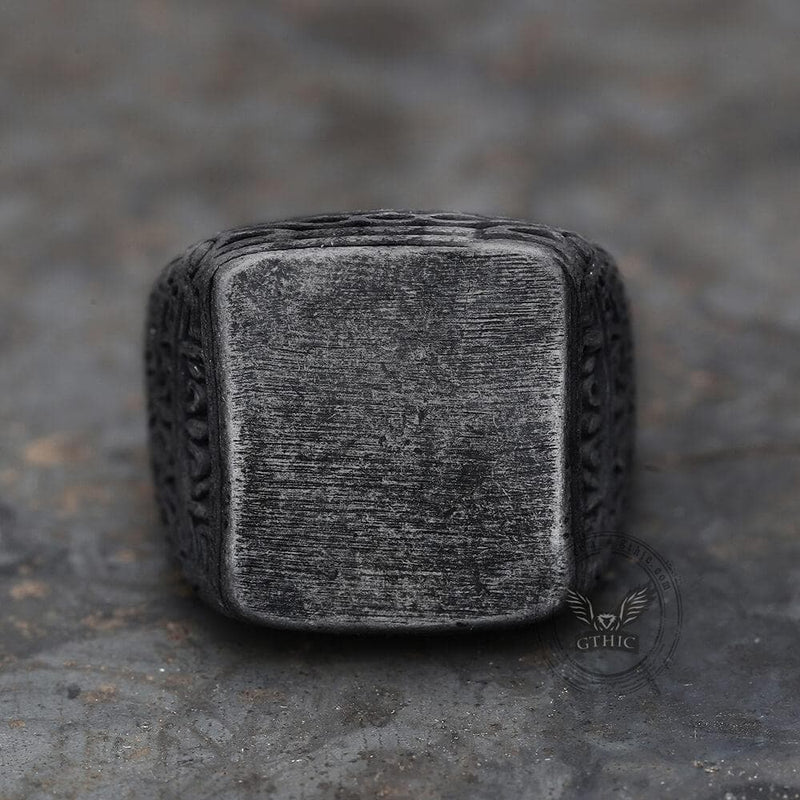 Retro Simple Stainless Steel Engraved Ring