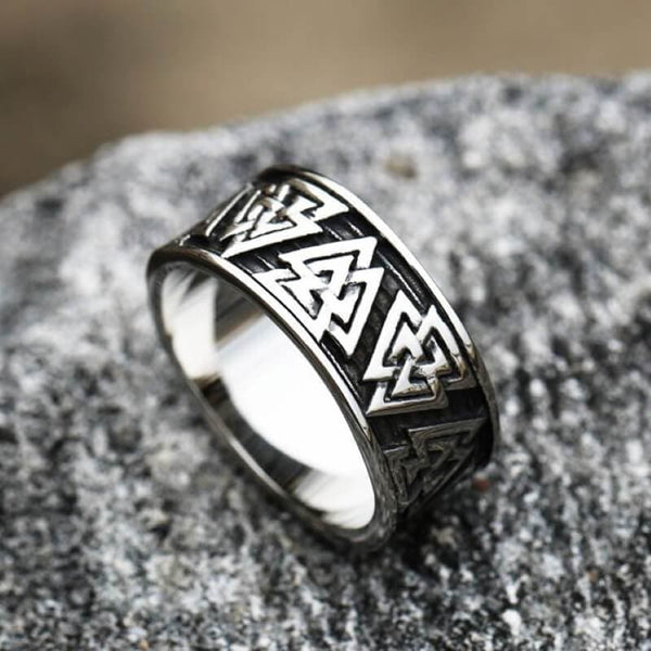 Retro Valknut Stainless Steel Viking Ring