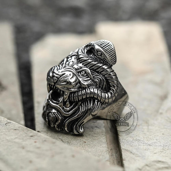 Roaring Lion and Snake Stainless Steel Animal Ring