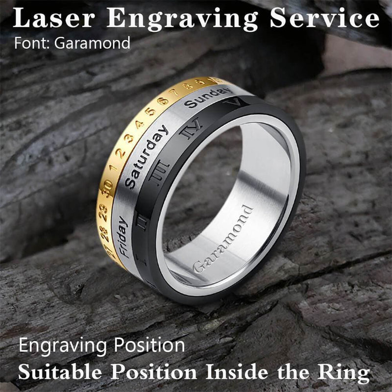Rotatable Calendar Stainless Steel Ring