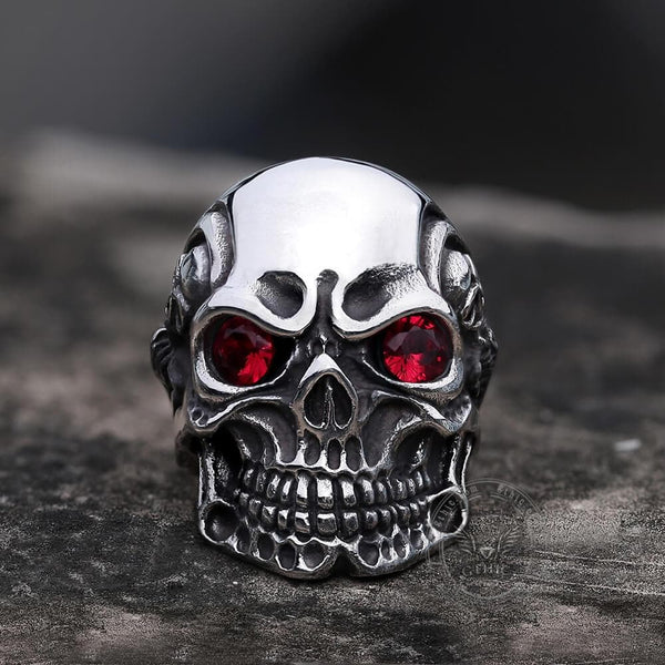 Ruby & Sapphire Eye Stainless Steel Skull Ring | Gthic.com