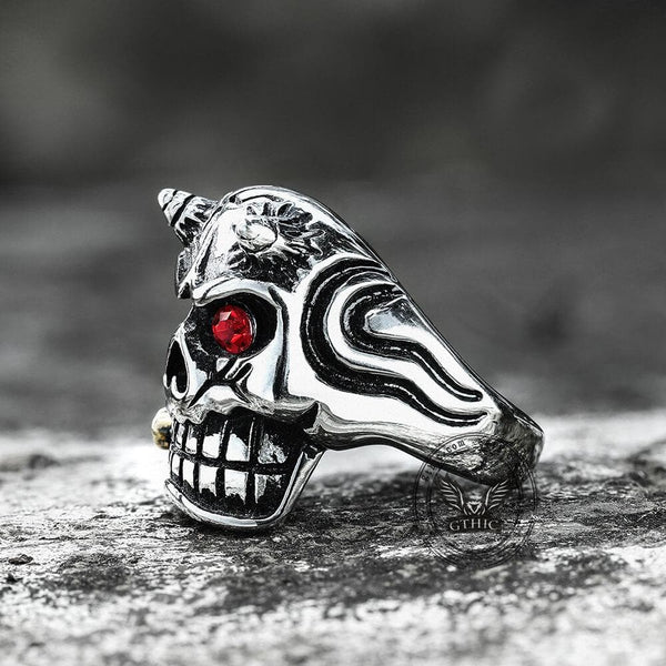 Ruby Eye Horn Stainless Steel Skull Ring