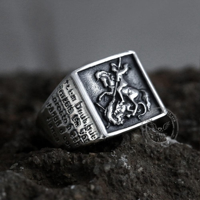 Saint George and the Dragon Stainless Steel Ring