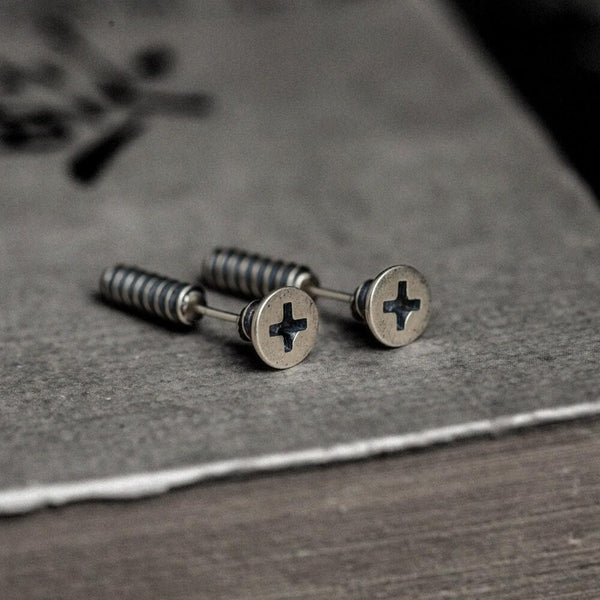 Screw Sterling Silver Punk Stud Earrings