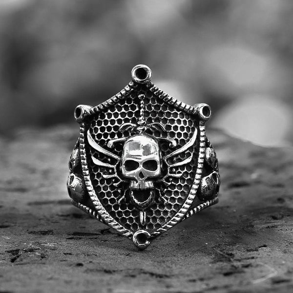 Shield Ghost Stainless Steel Skull Ring