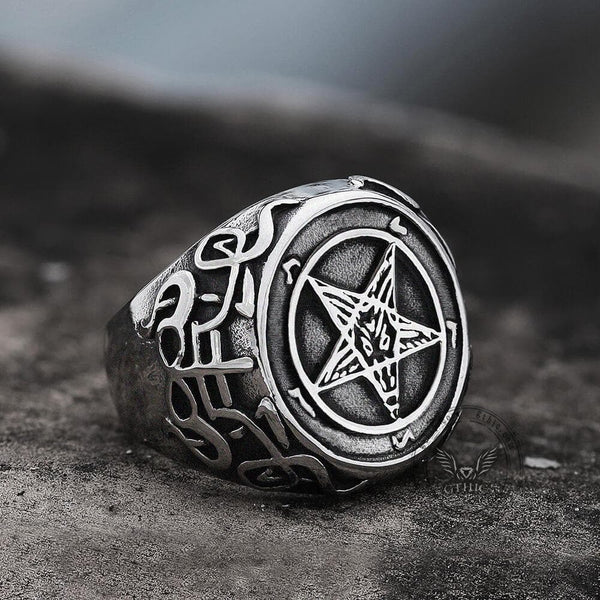 Sigil of Baphomet Stainless Steel Satan Ring