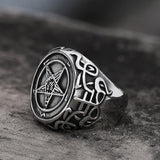 Sigil of Baphomet Stainless Steel Satan Ring | Gthic.com