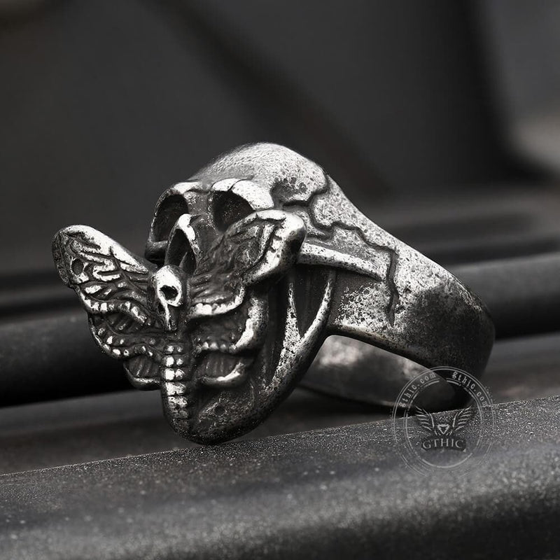 Skull And Butterfly Stainless Steel Ring