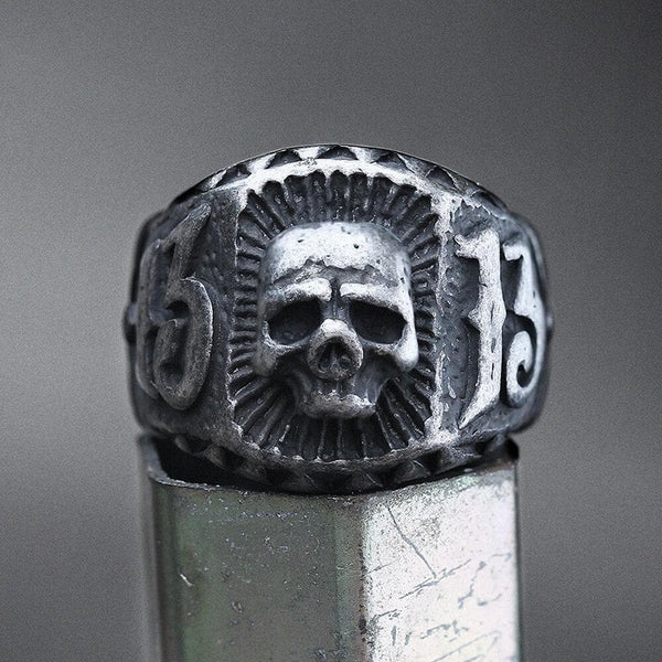 Skull and Number 13 Stainless Steel Ring