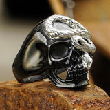 Skull and Snake Stainless Steel Ring