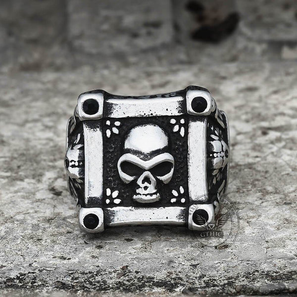Skull Flower Black Zircon Crystal Stainless Steel Ring