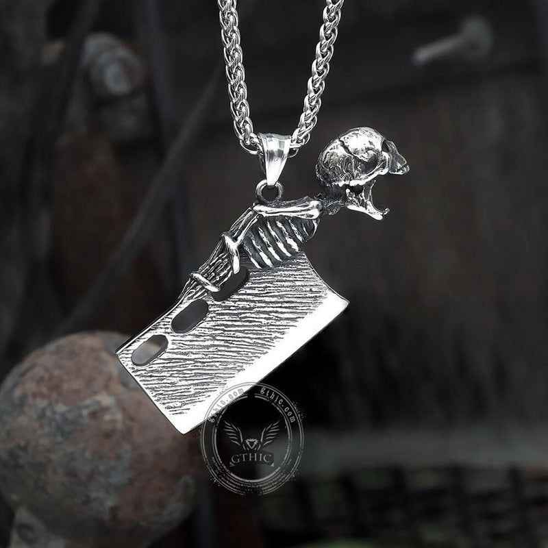 Skull Handle Knife Stainless Steel Pendant
