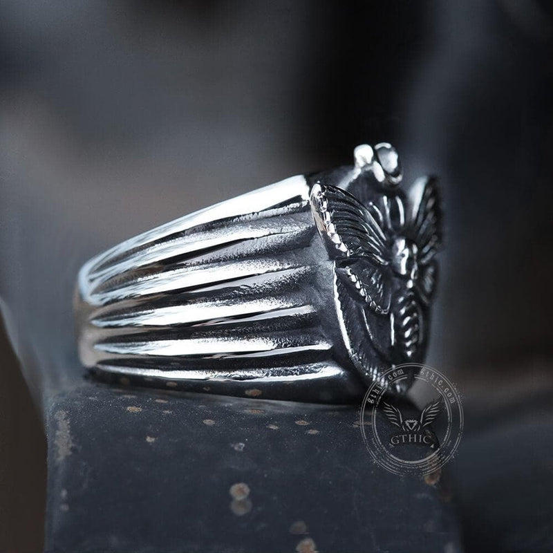 Skull Moth Butterfly Stainless Steel Ring