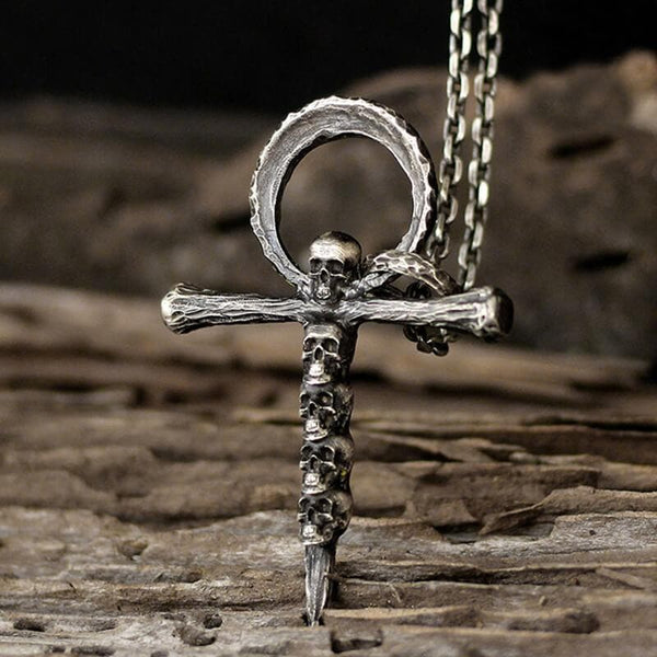Skulls and Cross Sterling Silver Brass Pendant