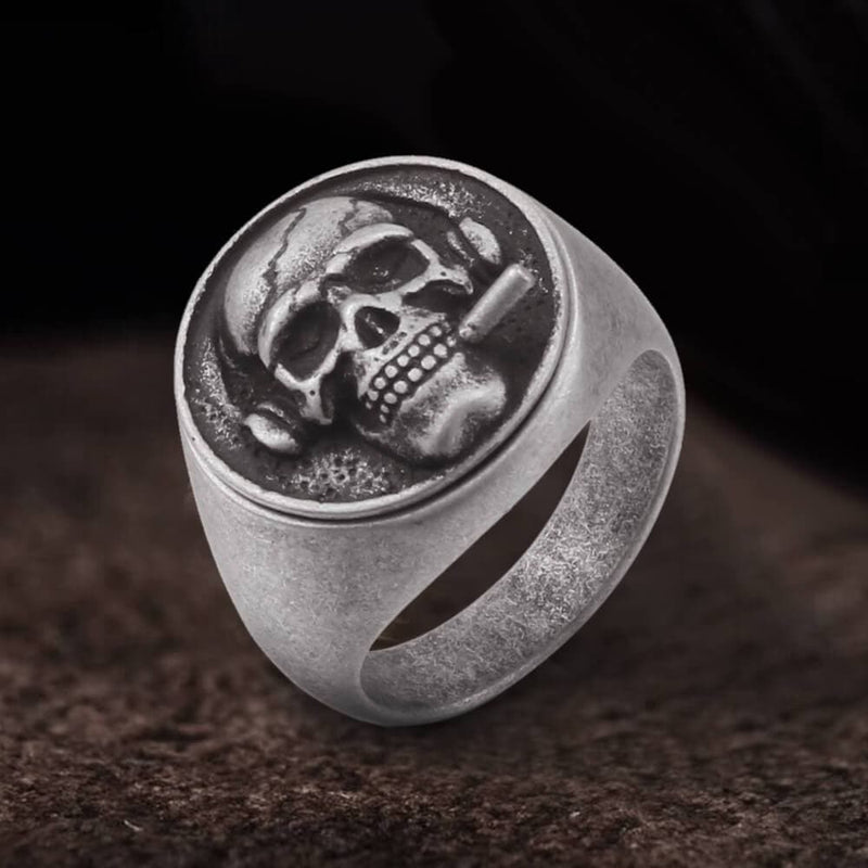 Smoking Skull Stainless Steel Ring