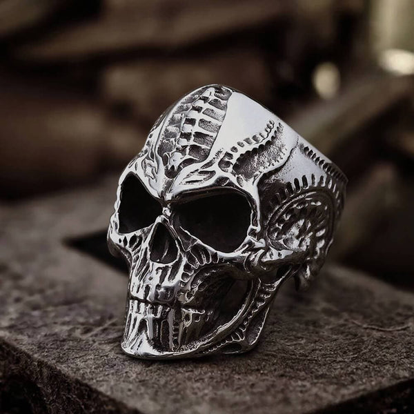 Steampunk Stainless Steel Skull Ring | Gthic.com