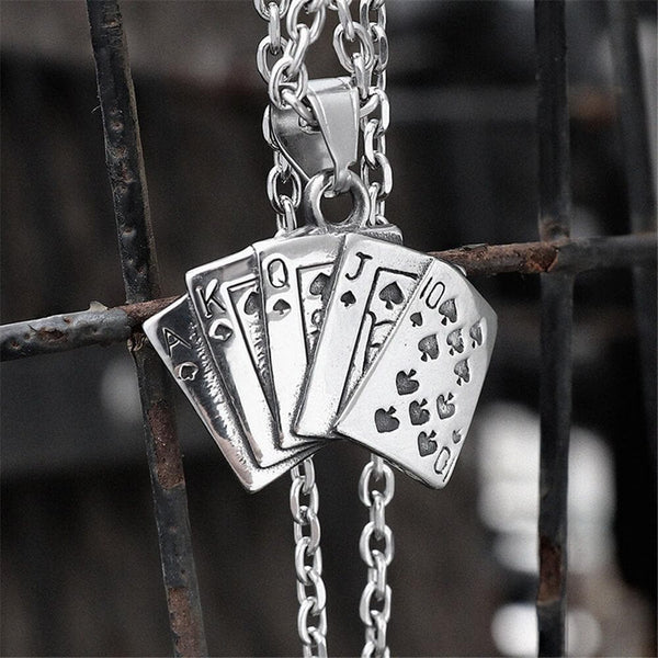 Straight Flush Poker Cards Stainless Steel Pendant