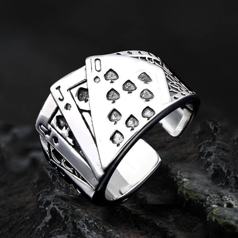 Straight Flush Poker Cards Stainless Steel Ring