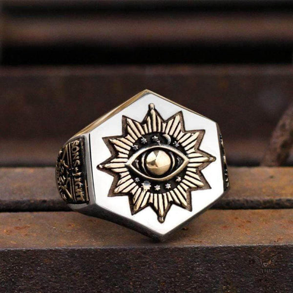 The All-seeing Eye Of God Stainless Steel Masonic Ring