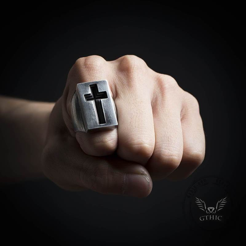 The Gate of Heaven Stainless Steel Cross Ring