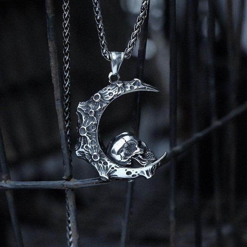 The Moon and Skull Stainless Steel Pendant