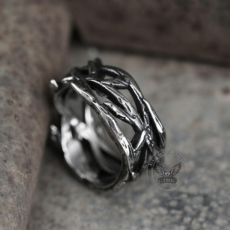 Thistles and Thorns Stainless Steel Ring
