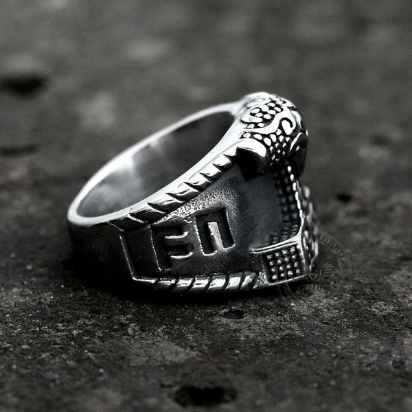 Thor's Hammer Rune Stainless Steel Viking Ring
