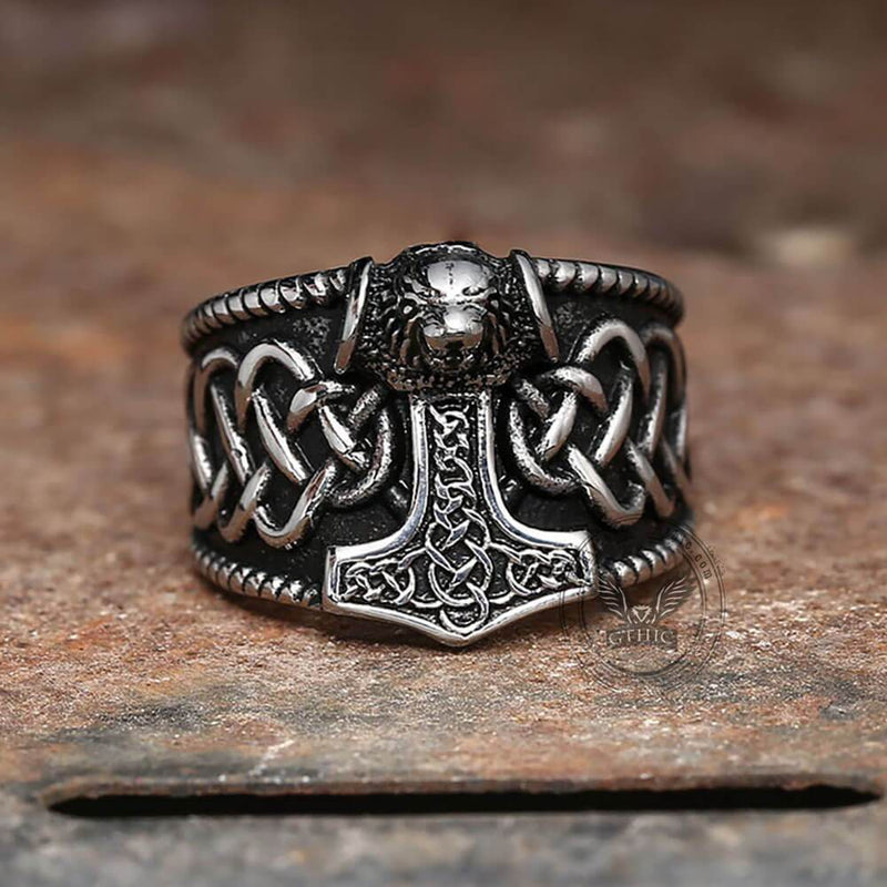 Thor's Hammer Stainless Steel Viking Ring